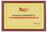 徐州盾安重工再度荣获2018年全套管钻机用户品牌关注度十强