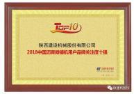 陕建机股份荣获2018年沥青摊铺机产品用户品牌关注度十强