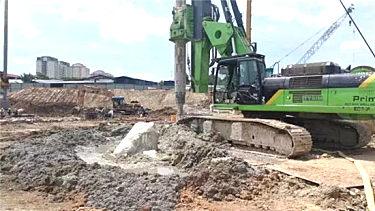 泰信机械KR285C旋挖钻机马来西亚石英岩施工