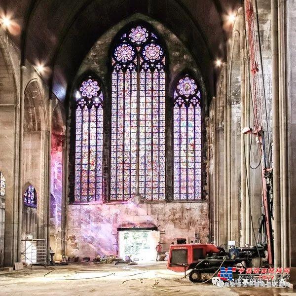 德国宝峨-克莱姆KR 801-3FS钻机用于教堂翻新,狭窄场地施工修复比利时百年建筑