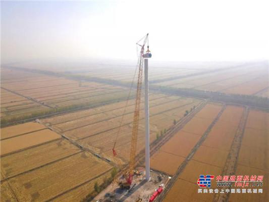 双剑合璧,力挑千钧--徐工XGC12000履带起重机于天津风电场完美首秀!