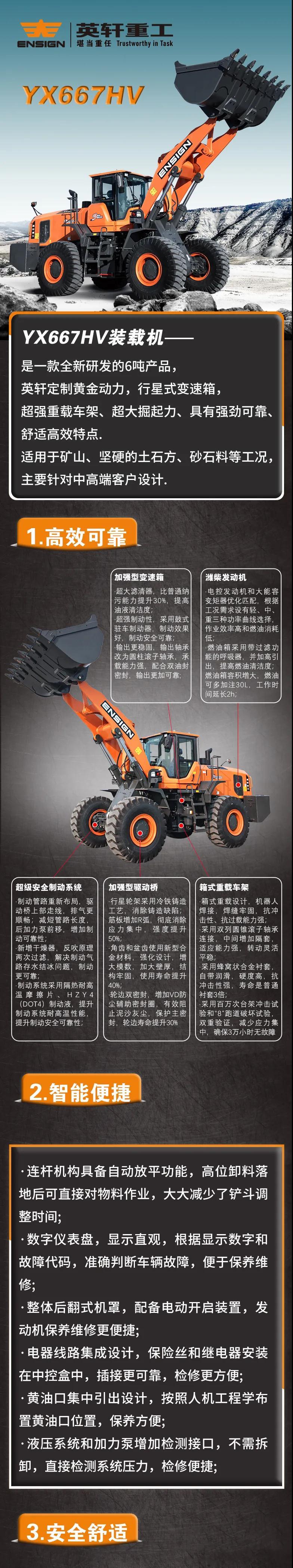 英轩6吨系列产品—YX667HV装载机