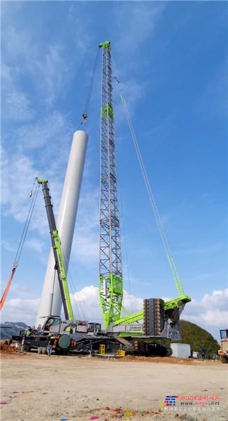 """风电""""神器""""再显威 中联重科ZCC9800W履带起重机助力吊装马山状元风电场"""