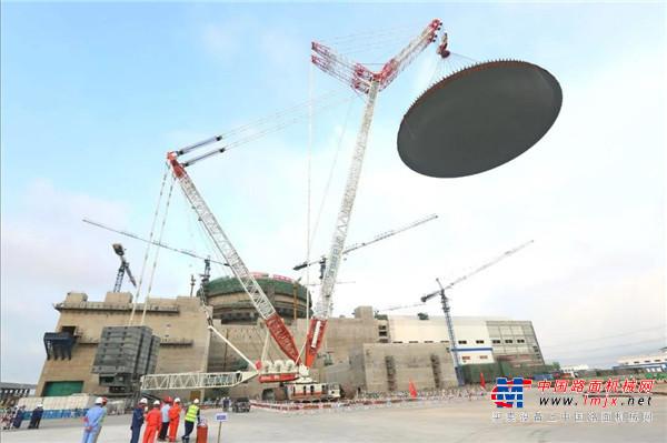 大国重器再展雄风 中联重科3200吨起重机圆满吊装华龙一号穹顶