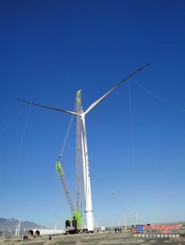 新纪录!中联重科ZCC9800助力达坂城亚洲陆上单机容量最大风电机组完成吊装