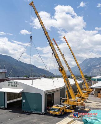 利勃海尔在起重机吊钩上移动的工业帐篷