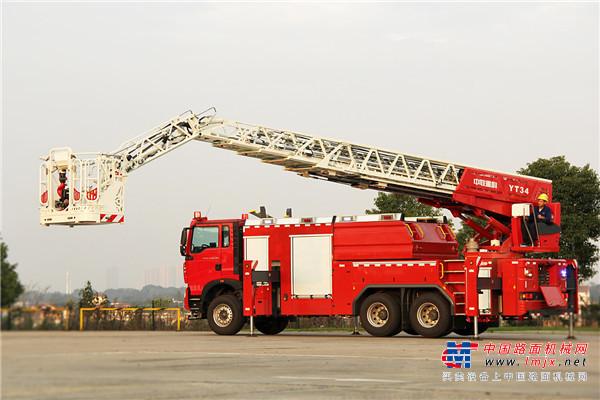 打破海外品牌垄断 中联重科下线国内首款曲臂云梯消防车