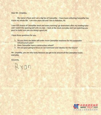 9岁小粉丝写给卡特彼勒CEO的一封信