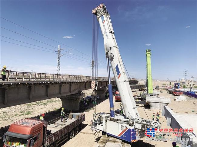 高家庄站多式联运改扩建工程铁路项目建设进入梁体架设施工阶段