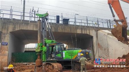 江苏泰信低净空旋挖钻机KR125ES助力江苏南沿江城际铁路