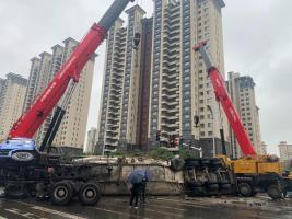 三一重工:赤峰百吨水泥罐车侧翻,吊装人9小时紧急救援